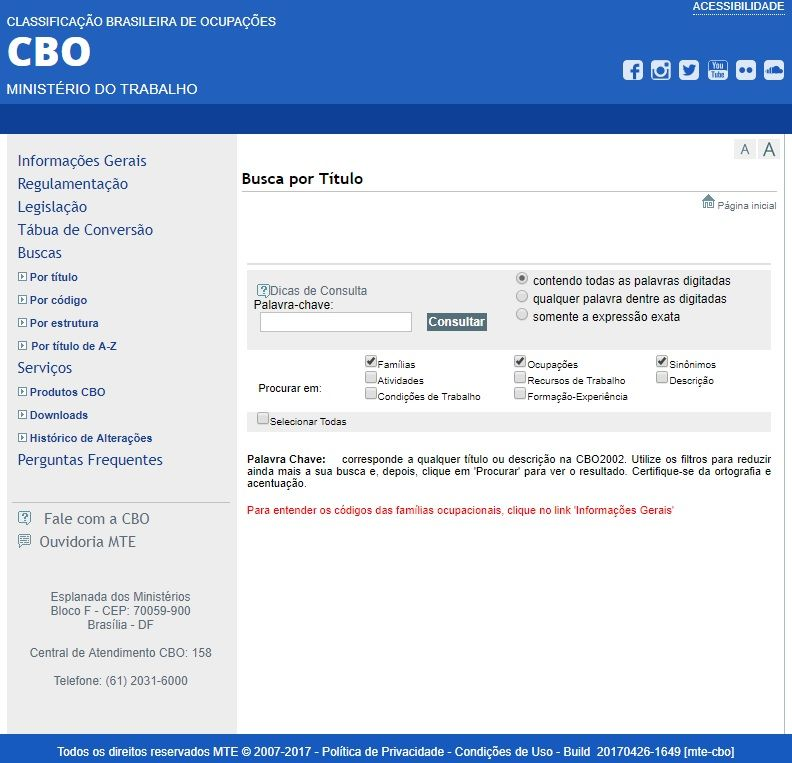 página CBO MTE